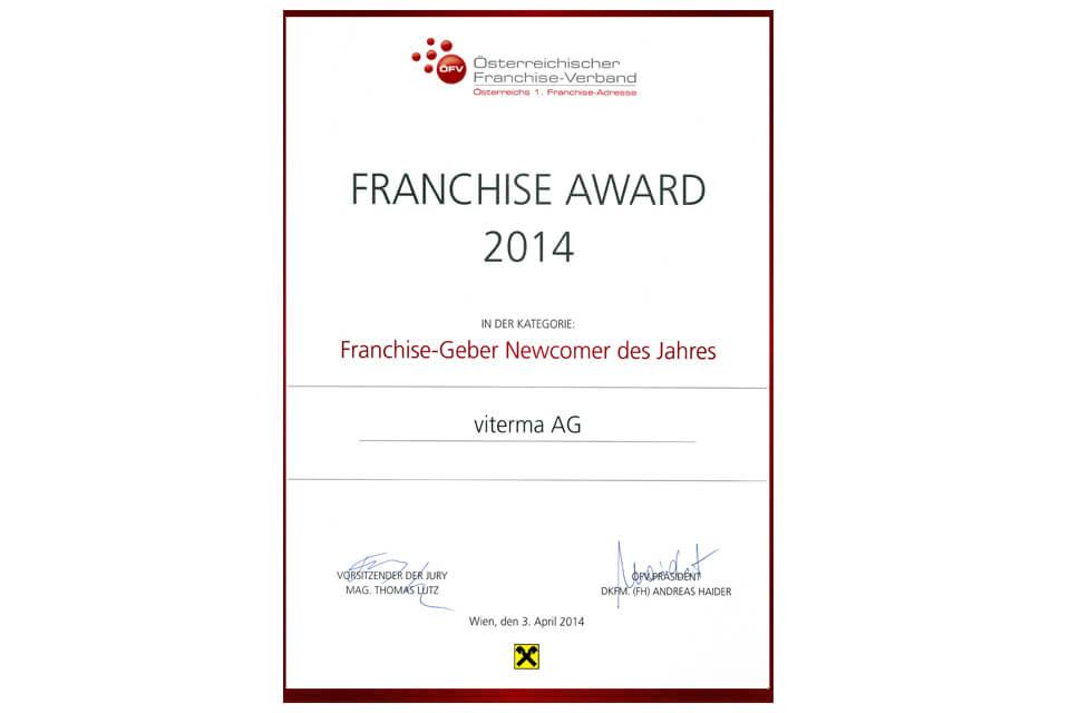 viterma Franchise-Geber Newcomer des Jahres Award
